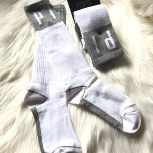 2 pairs pink Victoria Secret crew knee high socks